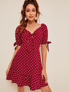 Polka-dot Print Flippy Hem Knotted Dress