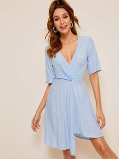 Twist Front Surplice Neck Asymmetrical Hem Dress