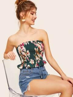 Floral Print Ruffle Hem Shirred Bandeau Top
