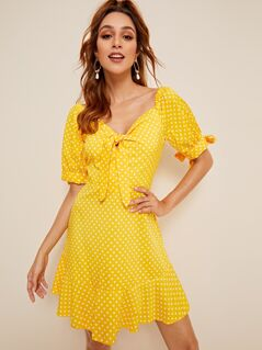 Polka-dot Print Flippy Hem Knotted Dress
