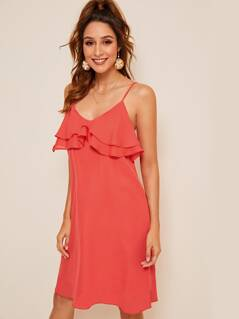 Ruffle Trim Solid Slip Dress