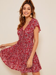 Paisley Print Ruffle Trim Tie Front Dress
