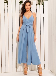 Criss-cross Backless Split Thigh Belted Tank Jumpsuit