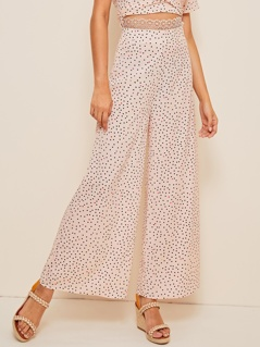 Polka-dot Lace Waist Culotte Pants