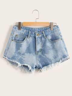 Bleach Wash Raw Hem Zipper Denim Shorts