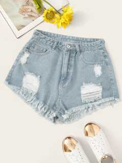 Faded Wash Destroyed Ripped Raw Hem Denim Shorts