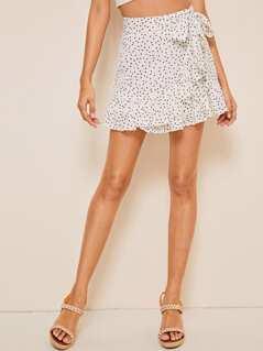 Polka-dot Print Ruffle Hem Wrap Knotted Skirt