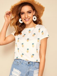 Allover Pineapple Print Tee