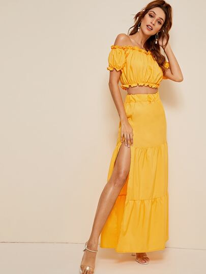 Frill Trim Bardot Top & Split Thigh Maxi Skirt Set