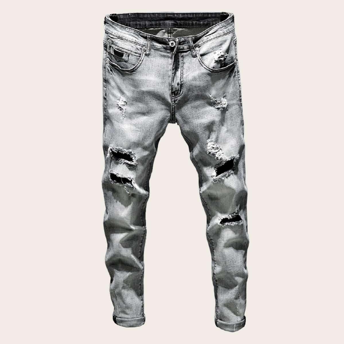 Grijs Casual Vlak Heren Jeans Gescheurd