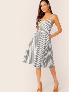 Twist Front Peekaboo Pocket Side Cami Dress