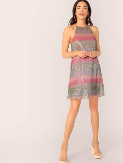 SheIn / Lettuce Edge Colorblock Metallic Glitter Halter Dress