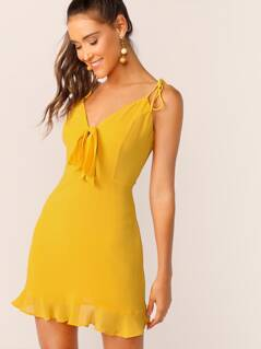 Tie Neck and Shoulder Ruffle Hem Dress