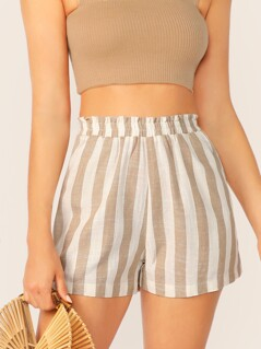 Elastic Waist Striped Shorts