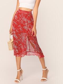 Asymmetric Ruffle Hem Ditsy Floral Skirt