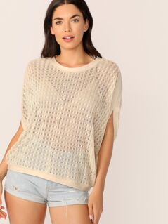 Batwing Sleeve Pointelle Knit Top Without Bra
