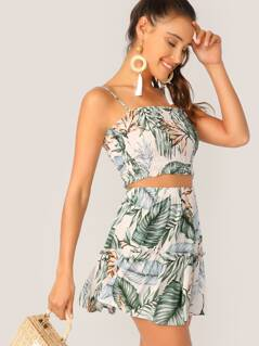 Tropical Shirred Cami Top and Flippy Skirt Set