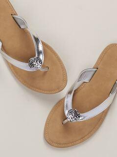 Coin Charm Flip Flop Thong Sandals