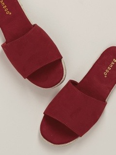 Single Band Peep Toe Slide Mule Sandals