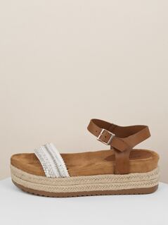 Bead And Sequin Band Jute Trim Flatform Sandals