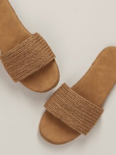 Open Toe Woven Jute Band Flat Slide Sandals