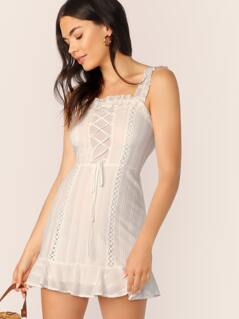 Straight Neck Lace Detail Ruffle Straps Mini Dress