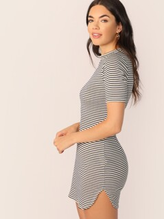 Crew Neck Short Sleeve Stripe T-Shirt Dress