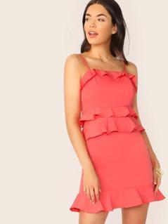 Layered Ruffle Sleeveless Straight Neck Mini Dress
