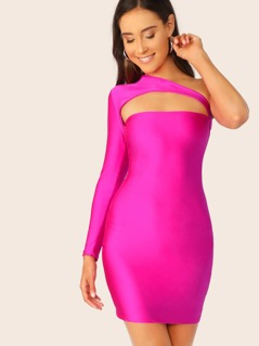 One Shoulder Sleeve Cut Out Bodycon Mini Dress