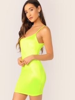 Low Back Spaghetti Strap Neon Mini Dress