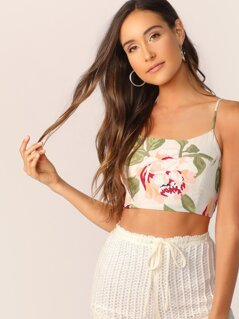 Floral Spaghetti Strap Lace Up Back Crop Tank Top