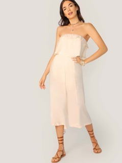 Layered Ruffle Strapless Jumpsuit