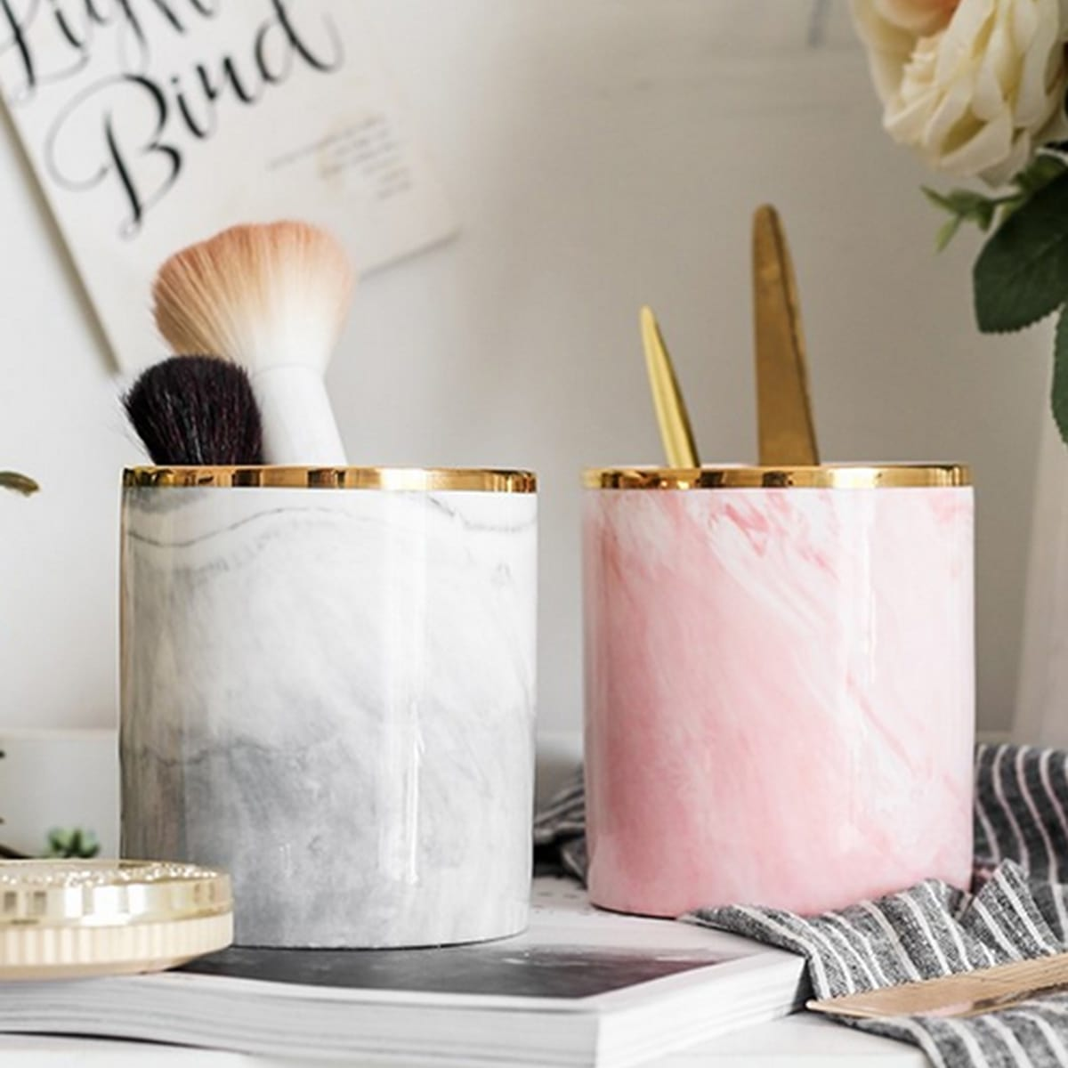Marmeren patroon make-up borstel opbergdoos 1pc