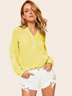 V-neck Button Half Placket Striped Top