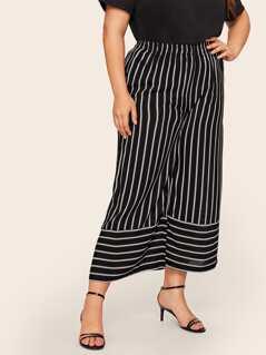 Plus Striped Elastic Waist Culotte Pants