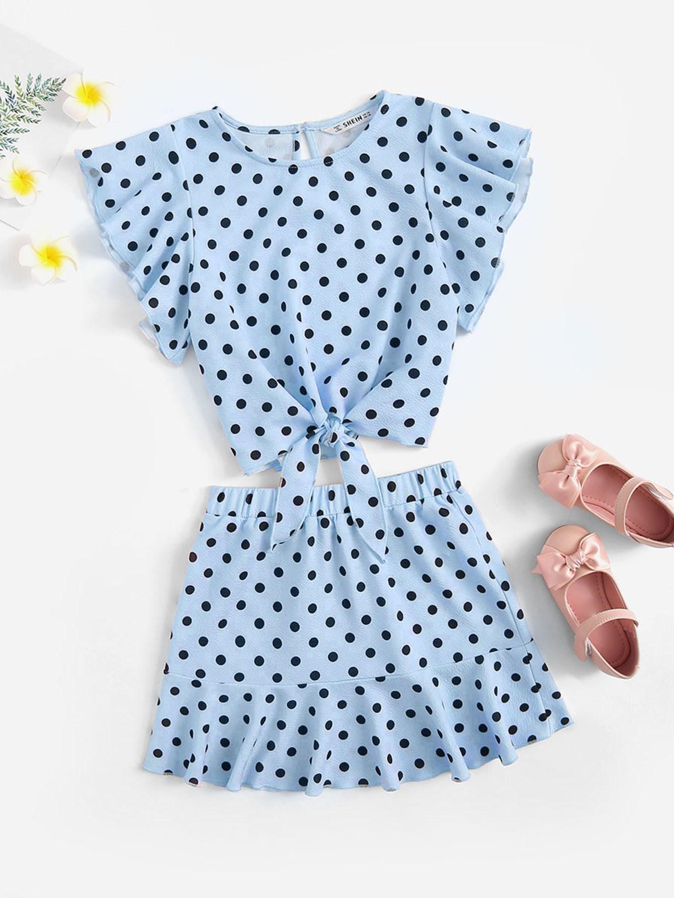 Фото - Топ в горошек с завязкой, оборкой и юбка от SheIn синего цвета