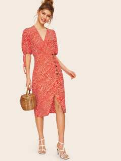 V-cut Button Side Dalmatian Dress