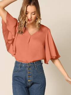 V-cut Butterfly Sleeve Blouse