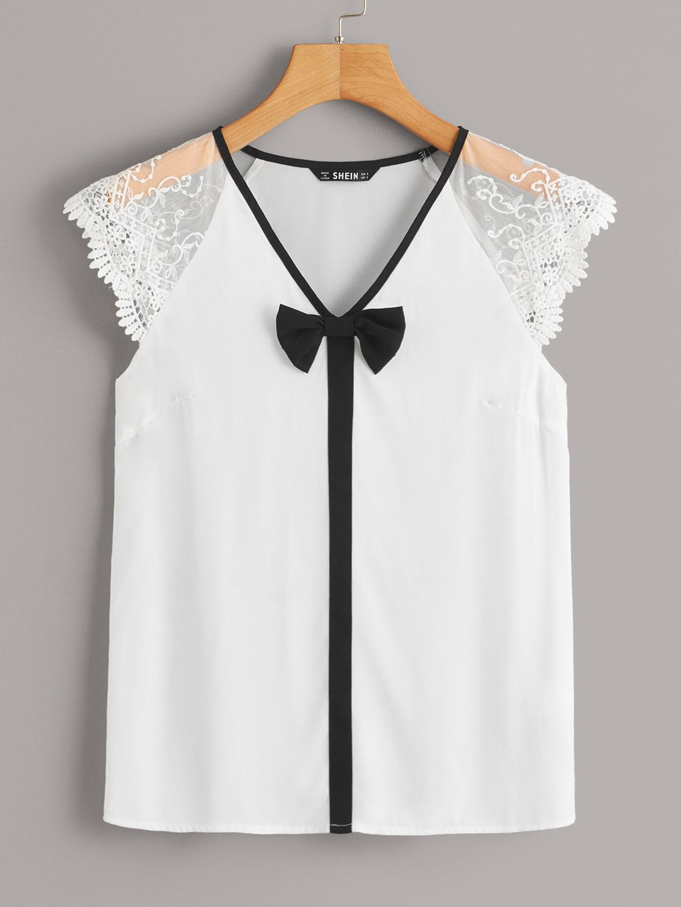 Фото - Топ с сетчатыми рукавами и вышивкой от SheIn белого цвета