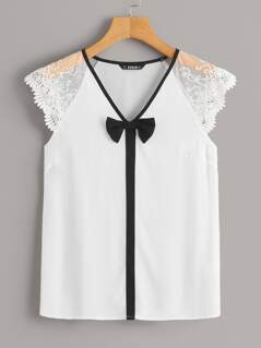 Embroidered Mesh Raglan Sleeve Bow Detail Top