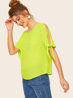 Neon Lime Pearls Beaded Knot Split Sleeve Top