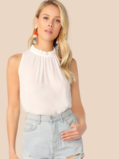 Frilled Neck Gathered Detail Top