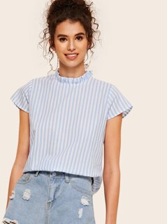 Keyhole Back Frill Mock Neck Striped Blouse