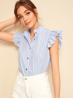 Mock Neck Ruffle Armhole Button Placket Striped Blouse
