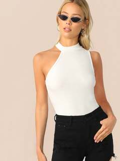Asymmetrical Neck Rib-knit Bodysuit
