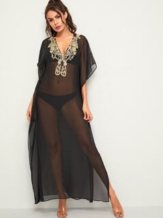 Embroidered Applique Sheer Cover Up Without Lingerie Set