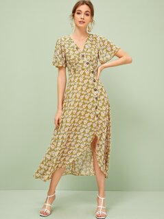 Single Breasted Split Hem Daisy Print Tea Dress