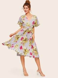 Floral Print Surplice Neck Pleated Hem Belted Dress