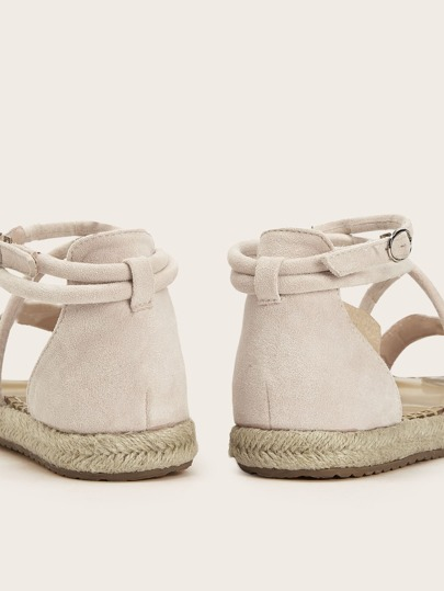SheIn / Open Toe Cross Strap Espadrille Sandals