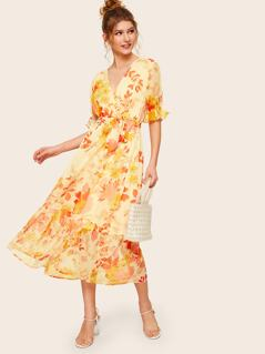 Surplice Wrap Botanical Print Belted Dress